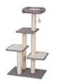 this dimension 60x40x111 cm cat tree is a perfect games, of rest, of hiding place for your kitty. This tour made of materiel of high quality carpets very soft and fluffy includes : 6 pegs sisal that provide strength, a soft bed with a toy hanging, 3 platforms allowing your cat to jump, fun, pounce on several levels. The paticularity of this tour is that, it can be used by several cats without occupying space. Idéal for the well-being of your kitty